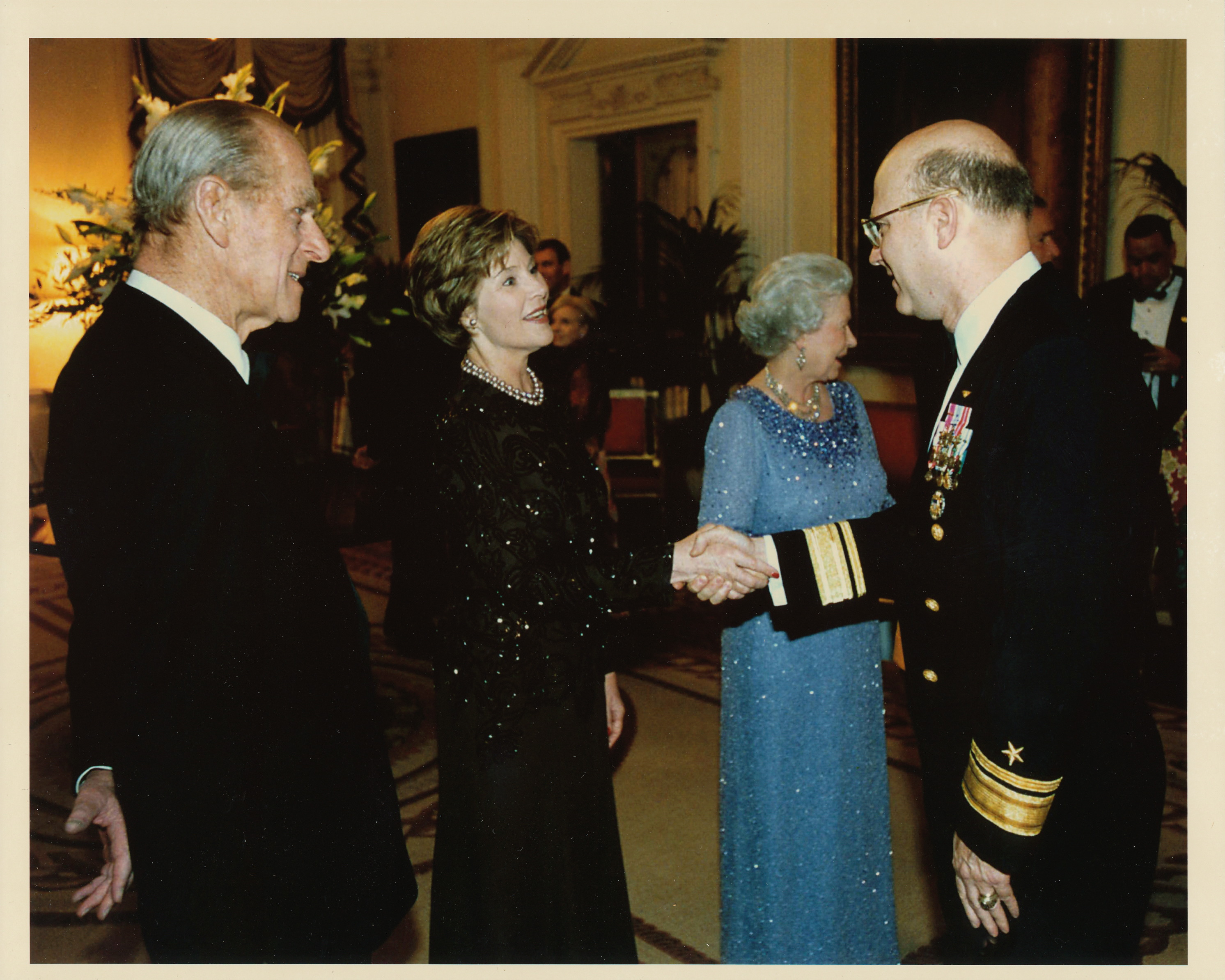 Lou meets the Queen, First Lady Laura Bush and Prince Phillip as Commander Navy Region Europe